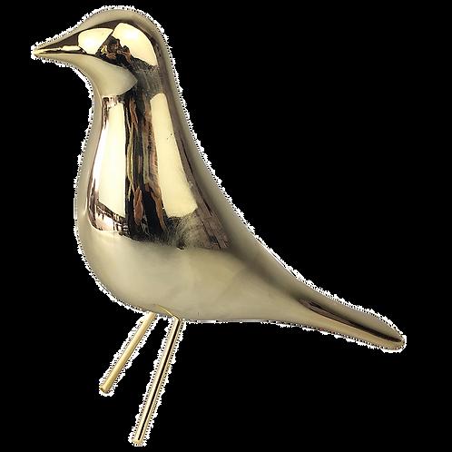 Pássaro de cerâmica  dourado