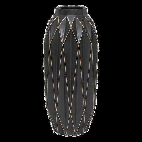 Vaso decorativo de Cerâmica preto com desenhos geométricos