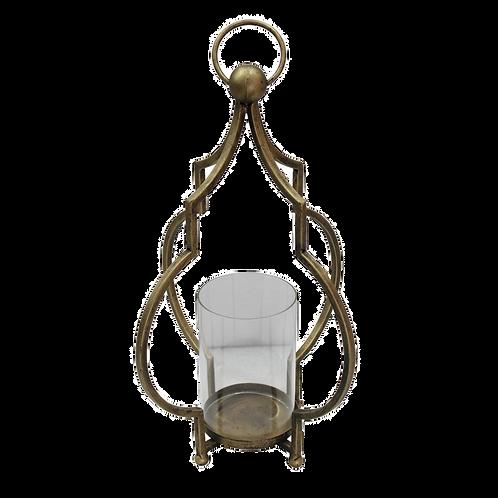 Lanterna decorativa de metal e vidro dourado -P