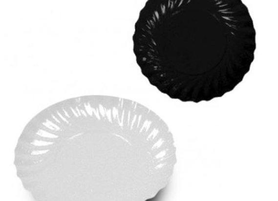 Lėkštutės D9 cm, viršus baltas / apačia juoda