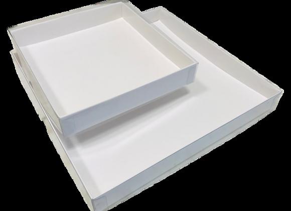 Dėžutė skaidriu dangteliu 17,5x19 cm, aukštis 3 cm, 5 vnt