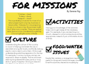 Survival Tips For Missions