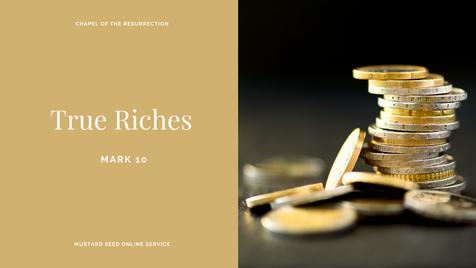 MSS: True Riches (Mark 10) - 27 September 2020