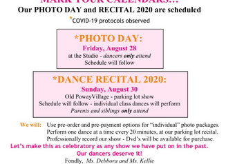 PHOTO DAY & RECITAL 2020 SCHEDULED!
