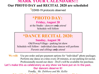 PHOTO DAY & RECITAL 2020 SCHEDULED!