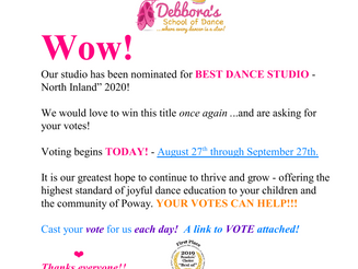 Vote For Us!   www.pomeradonews.com and click on VOTE.