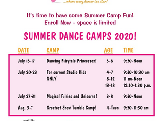 SUMMER FUN!  Our summer dance camps begin next week!  Check out our schedule below: