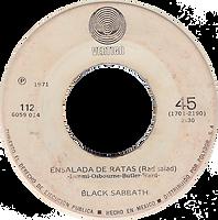 Black Sabbath - Paranoico / Ensalada DeRatas - Mexico - Vertigo 112 (6059 114)- 1971 - Side B