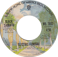 Iron Man / Electric Funeral Warner Bros 7530 - 1971  - Palmtree label - Side 2