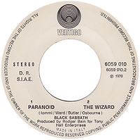 Black Sabbath - Paranoid / The Wizard - Italy - Vertigo  6059 010 - 1970 - Side 2
