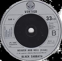Black Sabbath - Die Young / Heaven And Hell (Live) - UK  -Vertigo SAB 4- 1980 - Side 2