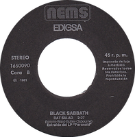 Black Sabbath  - Paranoid / Rat Salad - Spain - Nems 16S0099- 1980 - Side 2