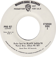 Black Sabbath - Radio  Spot for the LP Black Sabbath Warner Bros Pro 417 - 1970  - Promo USA - Side 2