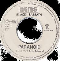 Black Sabbath - Paranoid / Snowblind - Yugoslavia - Beograd Disc SVKS 3019- 1980 - Side A