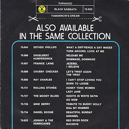 Black Sabbath - Paranoid / Tomorrow's Dream - Netherlands - Nems 79.800-Y - 1979 - Back