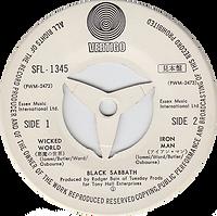 Black Sabbath - Wicked World / Iron Man - Japan - Vertigo SFL-1345 - 1971 - Side 2