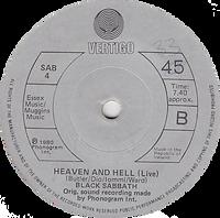 Black Sabbath - Die Young / Heaven And Hell (Live) - Ireland - Vertigo SAB 4 - 1980 - Side B
