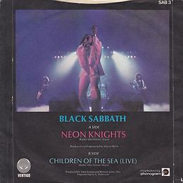 Black Sabbath - Neon Knights / Children Of The Sea (Live) - UK - Vertigo SAB 3- 1980 - back