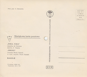 Black Sabbath - Zmiany (Changes) / J.Dassin - Taka, Taka - Poland R-0125-II - 197?