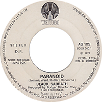 Black Sabbath - Paranoid / Manfred Mann Chapter III - Happy Being Me- Italy - Vertigo  AS 109 - 1970 - Promo