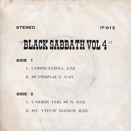 Black Sabbath - Cornucopia / Supernaut / Under The Sun / St. Vitus Dance - Thailand - IT IT-013 - 197?- Back