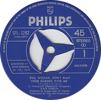 Black Sabbath - Evil Woman, Don't Play Your Games With Me/ Black Sabbath - Japan - Philip SFL-1282 - 1970 - Side 1