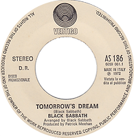 Black Sabbath - Tomorrow's Dream / Orietta Berti - 2 songs - Italy Vertigo / Polydor AS 186 - 1972 - Promo