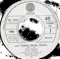 Black Sabbath - Am I Going Insane (Radio) / Hole In The Sky - Japan - Vertigo SFL-2142- 1975 - Side 1