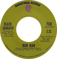 Iron Man / Electric Funeral Warner Bros 7530 - 1971 - side 1