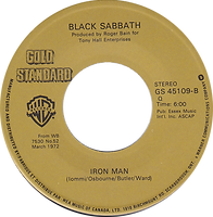 Black Sabbath  - Paranoid / Iron Man - Canada - Warner Brother - Gold Standard  GS 45109 -  1982? - Side 2