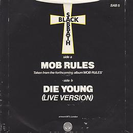 Black Sabbath  Mob Rules / Die Young (Live) - UK - Vertigo SAB 5 - 1981- Back