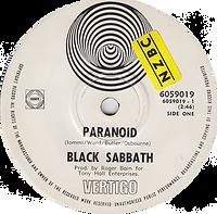 Black Sabbath - Paranoid / The Wizard - New Zealand - Vertigo 6059 019 - 1970 - Side 1