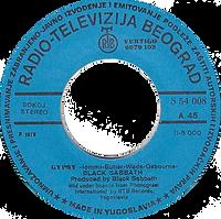 Black Sabbath - Gypsy / She's Gone - Yugoslavia - Radio-Televizija Beograd 6079 102 (S54 008) - 1976 - Side A