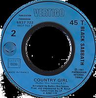 Black Sabbath - Turn Up The Night / Country Girl (Promo) - France - Vertigo 6837 722- 1981 - Side 2