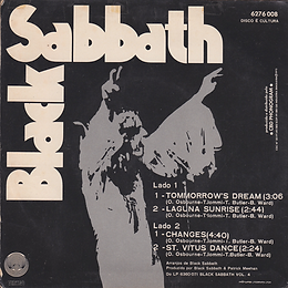 Black Sabbath - Tomorrow's Dream / Laguna Sunrise / Changes / St.Vitus Dance - Brasil -Vertigo  6276 008 - 1973 - back