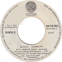 Black Sabbath - Evil Woman / Wicked World - Spain - Vertigo 6059 002 - 1970 - Side 1