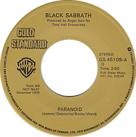 Black Sabbath - Paranoid / Iron Man - Canada - Warner Brother - Gold Standard  GS 45109 -  1982? - Side 1