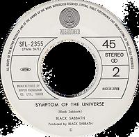 Black Sabbath - Hard Road / Symtom Of The Universe - Japan - Vertigo SFL-2355 - 1978 - Side 2