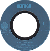 Black Sabbath - Paranoid / Rat Salad - France - Vertigo 6059 014 -1970 - Side 1 Blue letters