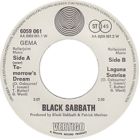 Black Sabbath - Tomorrow's Dream / Laguna Sunrise - Germany - Vertigo 6059 061- 1972 - Side 2 - Rollerjoint Music