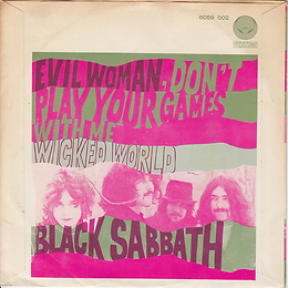 Black Sabbath - Evil Woman / Wicked World - Netherlands . Vertigo 6059 002 - 1970 - Back