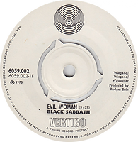 Black Sabbath - Evil Woman / Wicked World - Norway -  Vertigo 6059 002 - 1970 - Side 1