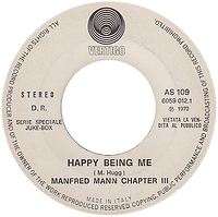 Black Sabbath - Paranoid / Manfred Mann Chapter III - Happy Being Me - Italy -Vertigo  AS 109 - 1970 - Promo