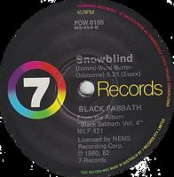 Black Sabbath - Paranoid / Snowblind - Australia - 7 Records POW 105 - 1980