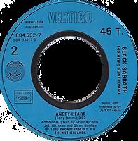 Black Sabbath - No Stranger To Love / Angry Heart - France - Vertigo 884 532-7- 1986 - Side 2