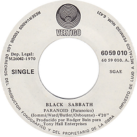 Black Sabbath - Paranoid / The Wizard - Spain - Vertigo 6059 010- 1970 - Side 1