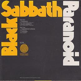 Black Sabbath - Paranoid / Black Sabbath / Tomorrow's Dream / Changes - Australia - Vertigo 6276 009- 1973 - back