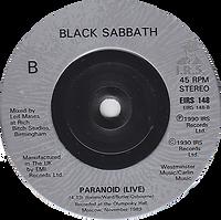 Black Sabbath - Feels Good To Me / Paranoid (Live) - UK  - I.R.S. EIRS 148- 1990 - Side B