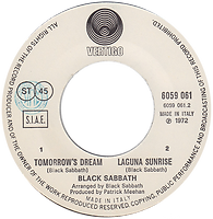 Black Sabbath - Tomorrow's Dream / Laguna Sunrise - Italy -Vertigo  6059 061 - 1972 - Side 2