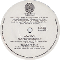 Black Sabbath - Children Of The Sea / Lady Evil - Australia - Vertigo 60000 498- 1980 - Side 2